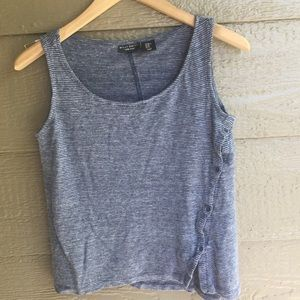 Casual striped side button 100% linen tank top